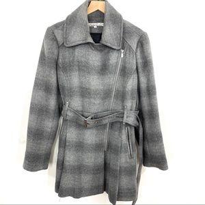 Kenneth Cole NY Soft Grey Plaid Wool Blend Jacket
